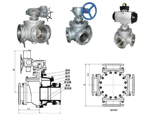 Four way ball valves drawing