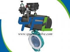 Pneumatic actuated PFA Lined butterfly valve