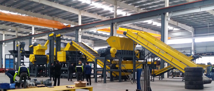 Waste Tire Shredding, Separating, Recycling Line